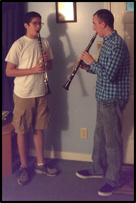 With a former clarinet student. We practiced playing short sections of pieces from memory so that we could focus on ensemble playing in a Boismortier duo!